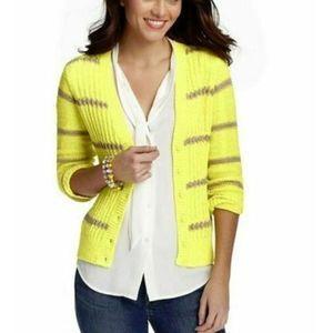 Loft Yellow Knitted Striped Cardigan Women's Large